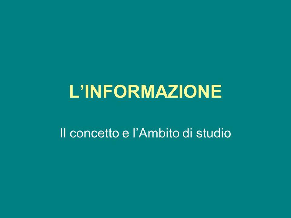 LINFORMAZIONE Il concetto e lAmbito di studio