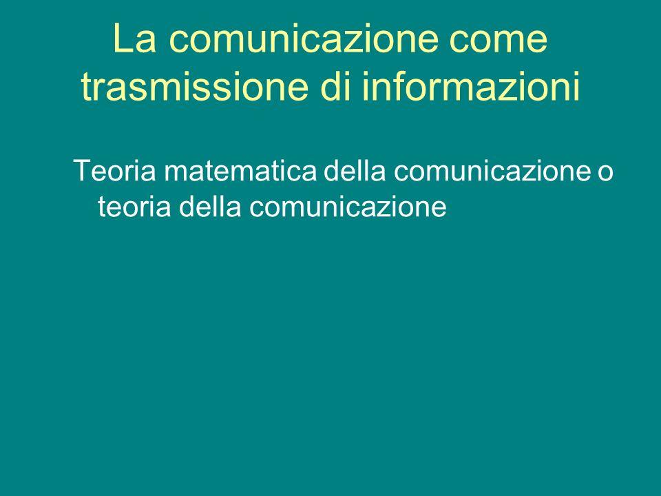 La comunicazione come trasmissione di informazioni Teoria matematica della comunicazione o teoria della comunicazione