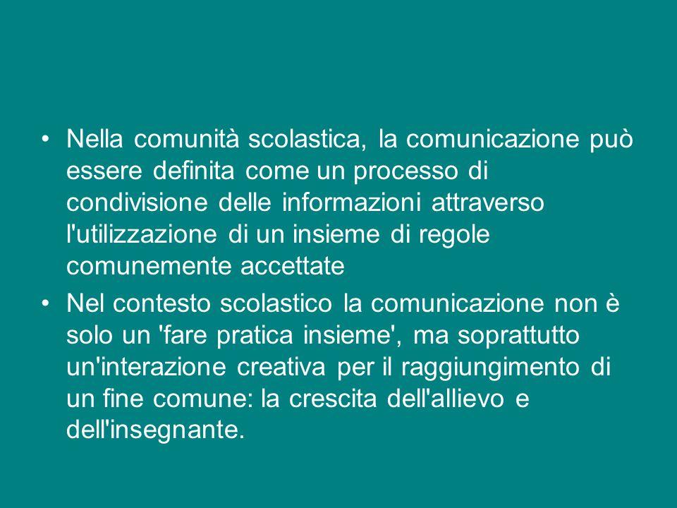 Nella comunità scolastica, la comunicazione può essere definita come un processo di condivisione delle informazioni attraverso l'utilizzazione di un i