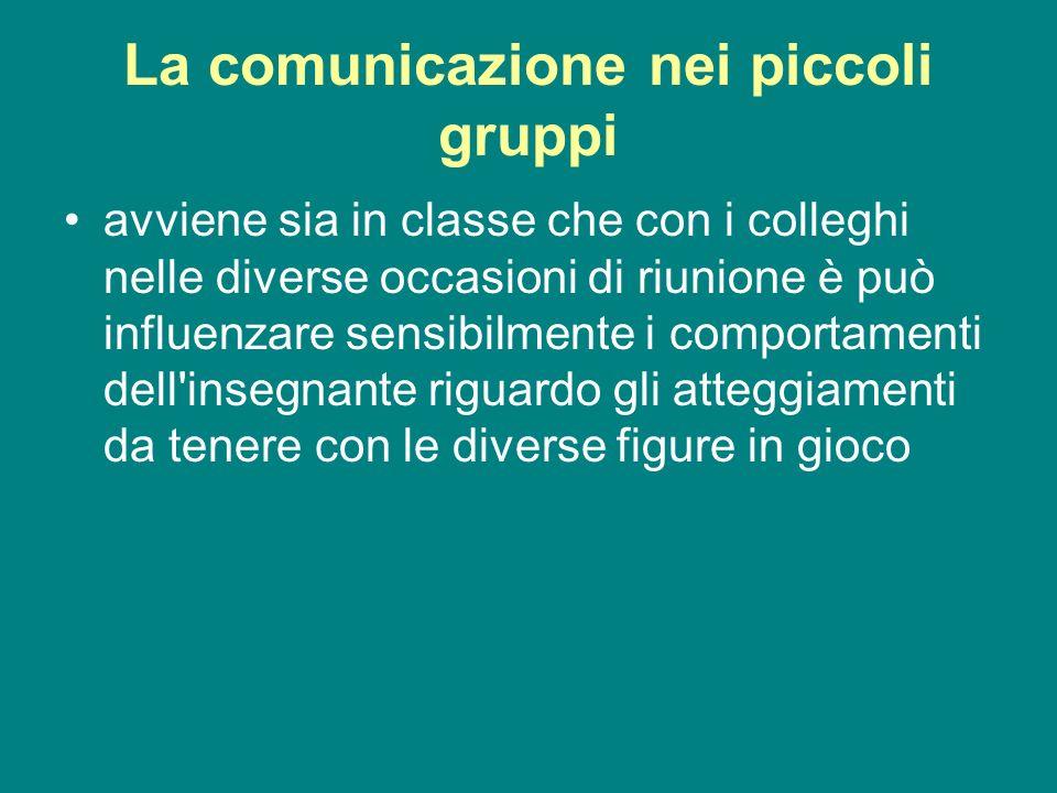 La comunicazione nei piccoli gruppi avviene sia in classe che con i colleghi nelle diverse occasioni di riunione è può influenzare sensibilmente i com
