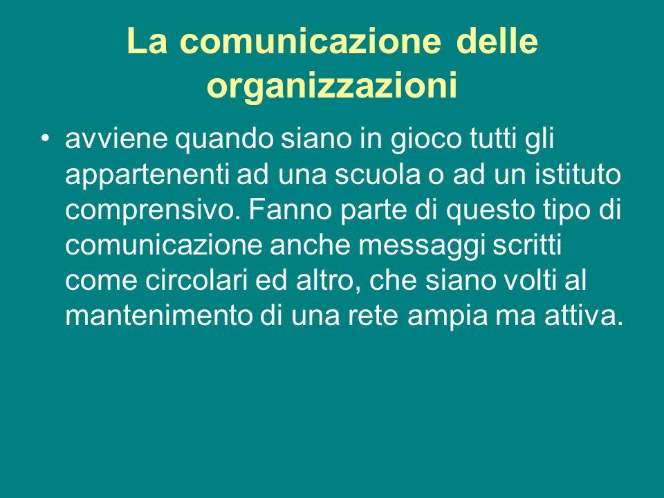 La comunicazione delle organizzazioni avviene quando siano in gioco tutti gli appartenenti ad una scuola o ad un istituto comprensivo. Fanno parte di