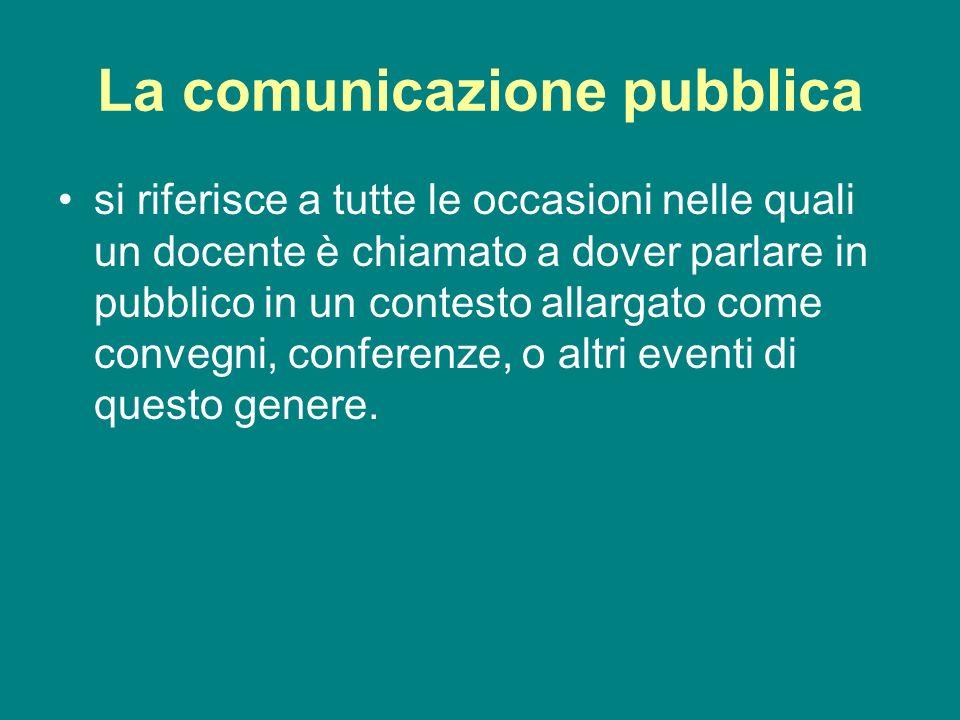 La comunicazione pubblica si riferisce a tutte le occasioni nelle quali un docente è chiamato a dover parlare in pubblico in un contesto allargato com