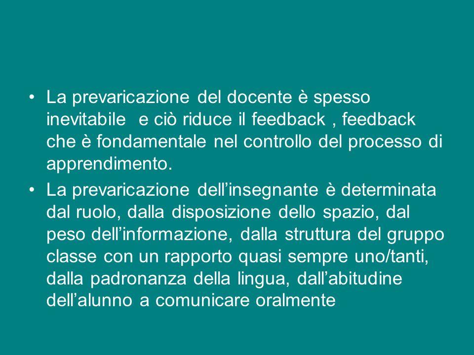 La prevaricazione del docente è spesso inevitabile e ciò riduce il feedback, feedback che è fondamentale nel controllo del processo di apprendimento.