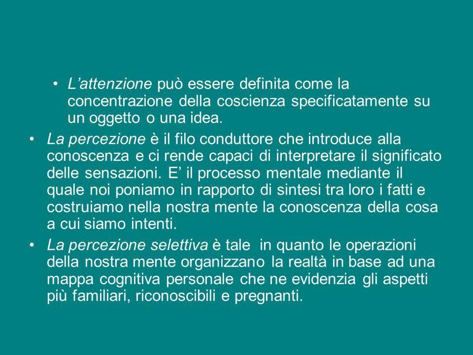 Lattenzione può essere definita come la concentrazione della coscienza specificatamente su un oggetto o una idea. La percezione è il filo conduttore c