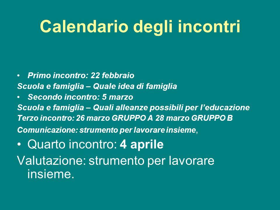 Calendario degli incontri Primo incontro: 22 febbraio Scuola e famiglia – Quale idea di famiglia Secondo incontro: 5 marzo Scuola e famiglia – Quali a