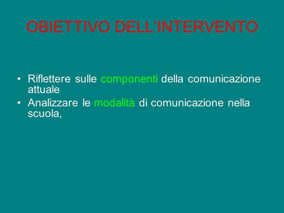 OBIETTIVO DELLINTERVENTO Riflettere sulle componenti della comunicazione attuale Analizzare le modalità di comunicazione nella scuola,