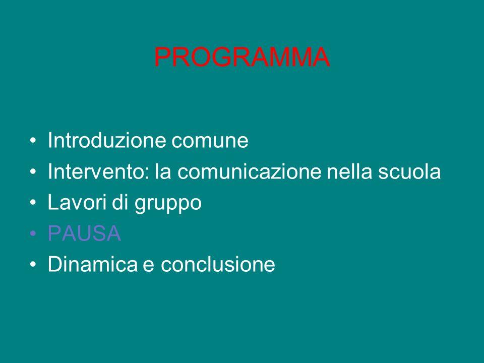 PROGRAMMA Introduzione comune Intervento: la comunicazione nella scuola Lavori di gruppo PAUSA Dinamica e conclusione