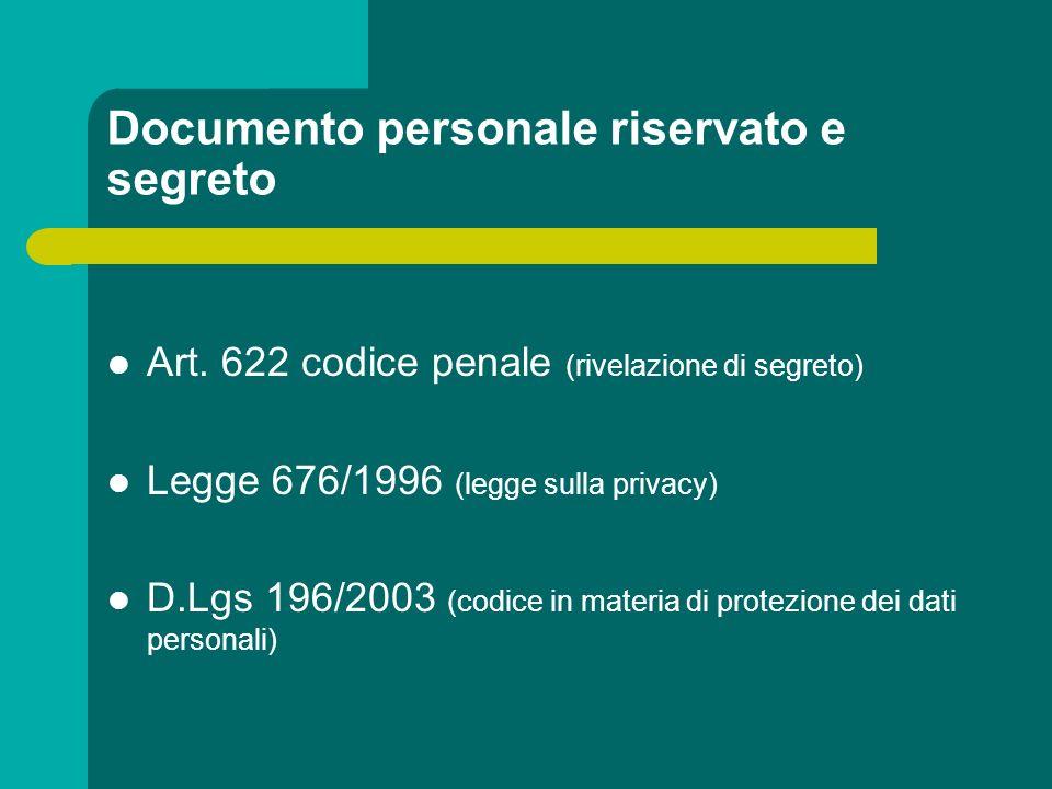 Documento personale riservato e segreto Art. 622 codice penale (rivelazione di segreto) Legge 676/1996 (legge sulla privacy) D.Lgs 196/2003 (codice in