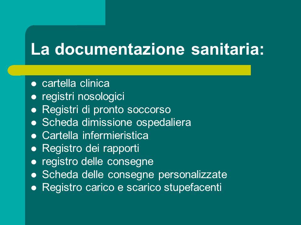 La documentazione sanitaria: cartella clinica registri nosologici Registri di pronto soccorso Scheda dimissione ospedaliera Cartella infermieristica R