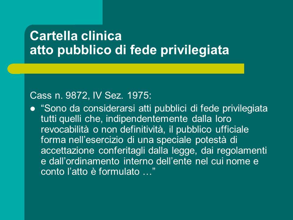 Cartella clinica atto pubblico di fede privilegiata Cass n. 9872, IV Sez. 1975: Sono da considerarsi atti pubblici di fede privilegiata tutti quelli c