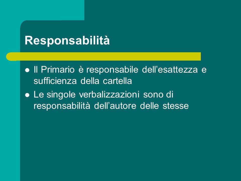 Responsabilità Il Primario è responsabile dellesattezza e sufficienza della cartella Le singole verbalizzazioni sono di responsabilità dellautore dell