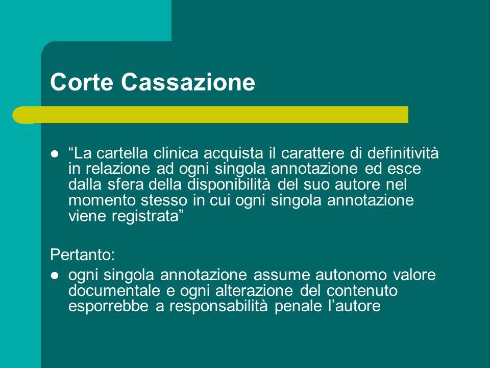 Corte Cassazione La cartella clinica acquista il carattere di definitività in relazione ad ogni singola annotazione ed esce dalla sfera della disponib