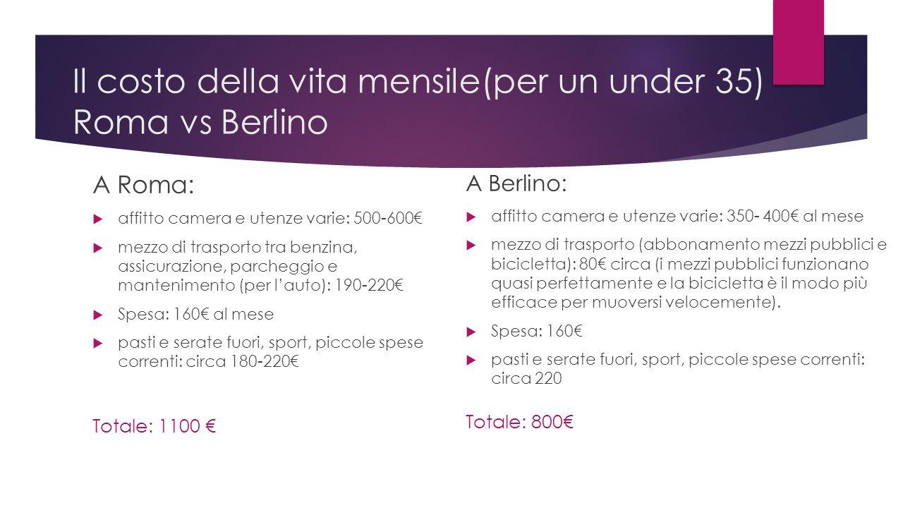 Il costo della vita mensile(per un under 35) Roma vs Berlino A Roma: affitto camera e utenze varie: 500-600 mezzo di trasporto tra benzina, assicurazione, parcheggio e mantenimento (per lauto): 190-220 Spesa: 160 al mese pasti e serate fuori, sport, piccole spese correnti: circa 180-220 Totale: 1100 A Berlino: affitto camera e utenze varie: 350- 400 al mese mezzo di trasporto (abbonamento mezzi pubblici e bicicletta): 80 circa (i mezzi pubblici funzionano quasi perfettamente e la bicicletta è il modo più efficace per muoversi velocemente).