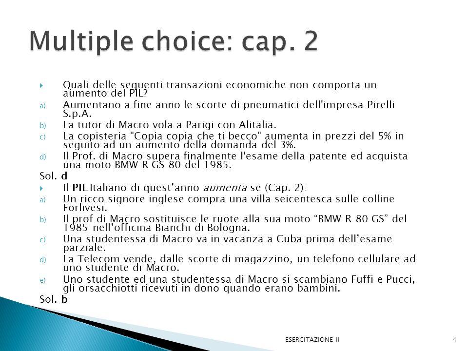 a) Condizione di equilibrio: PML = W/P, dopo ΔPML, PML=(W/P) ESERCITAZIONE II25 L Salario L D =PML W/P L D =PML (W/P) L