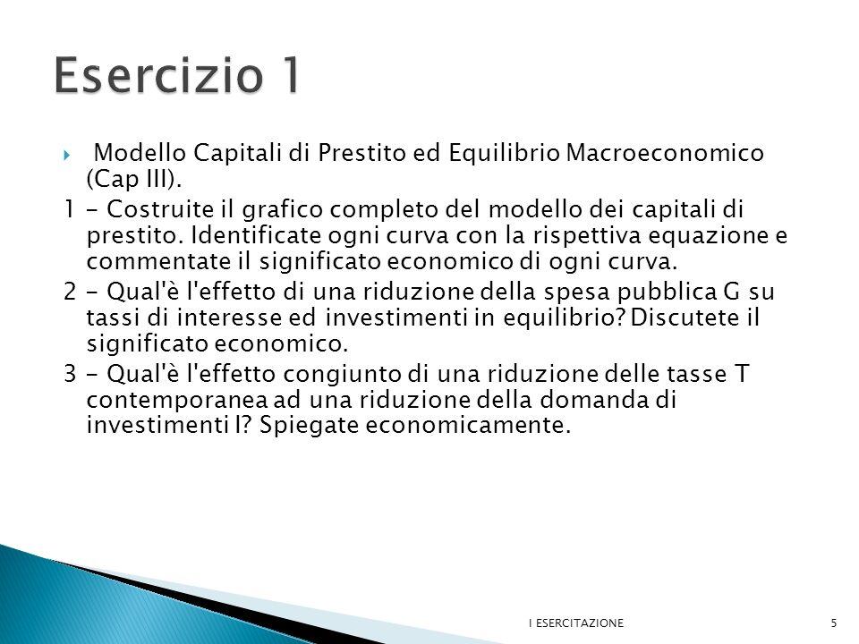 Modello Capitali di Prestito ed Equilibrio Macroeconomico (Cap III).