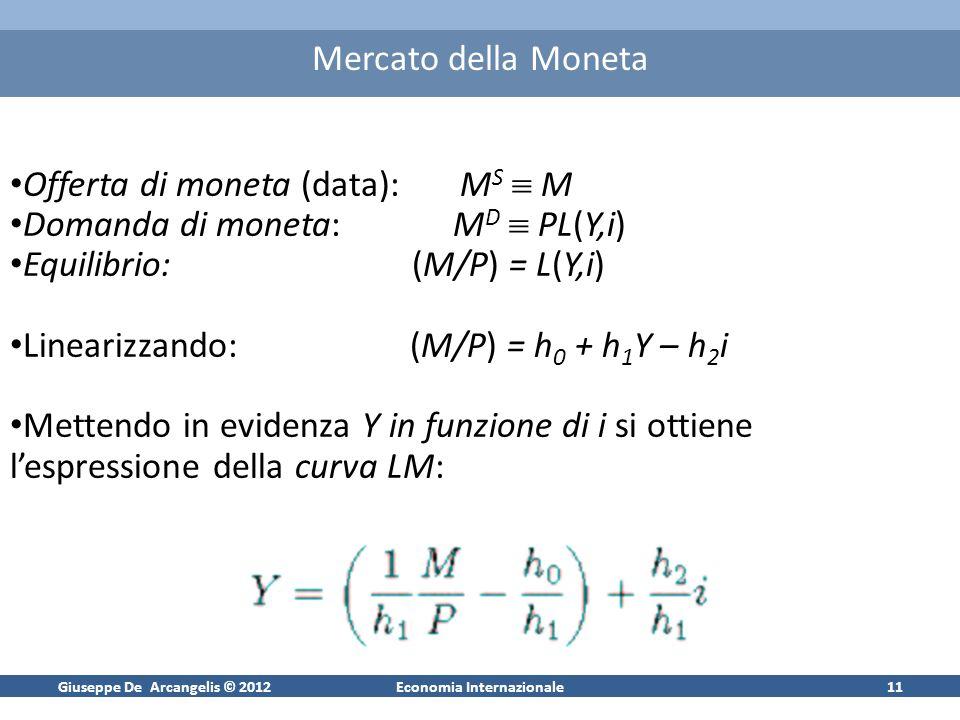 Giuseppe De Arcangelis © 2012Economia Internazionale11 Mercato della Moneta Offerta di moneta (data): M S M Domanda di moneta: M D PL(Y,i) Equilibrio: (M/P) = L(Y,i) Linearizzando: (M/P) = h 0 + h 1 Y – h 2 i Mettendo in evidenza Y in funzione di i si ottiene lespressione della curva LM: