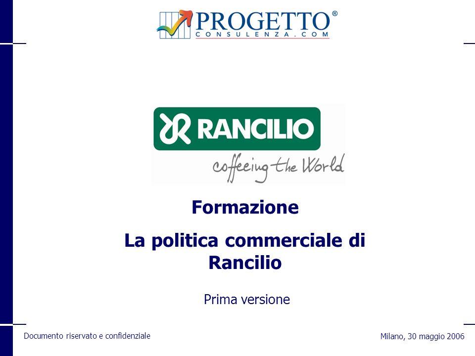 Documento riservato e confidenziale Milano, 30 maggio 2006 Formazione La politica commerciale di Rancilio Prima versione