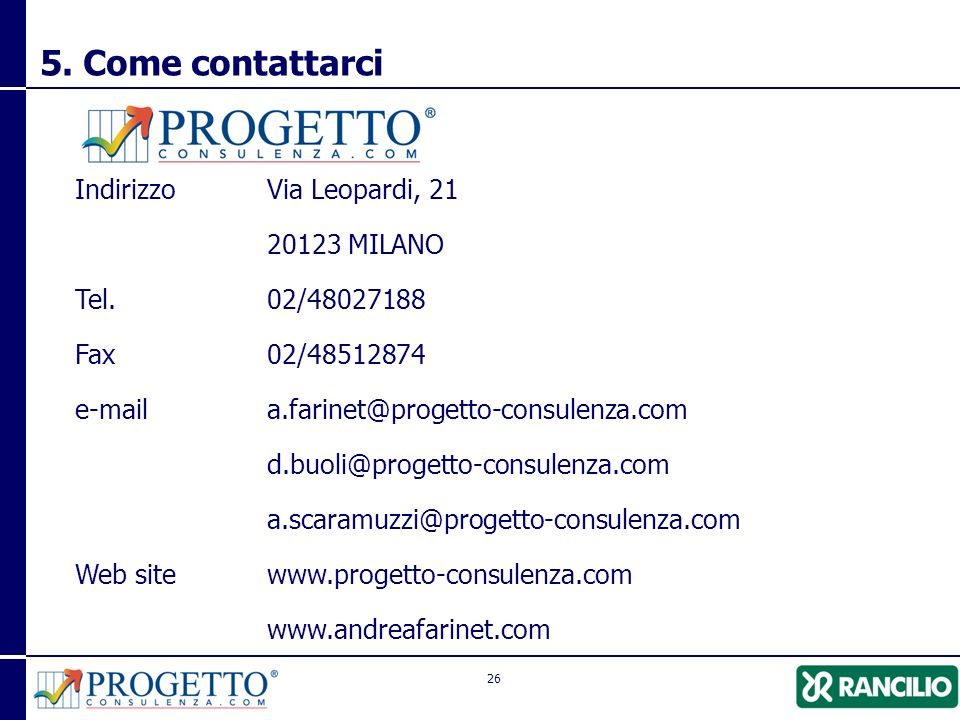 26 Indirizzo Via Leopardi, 21 20123 MILANO Tel.