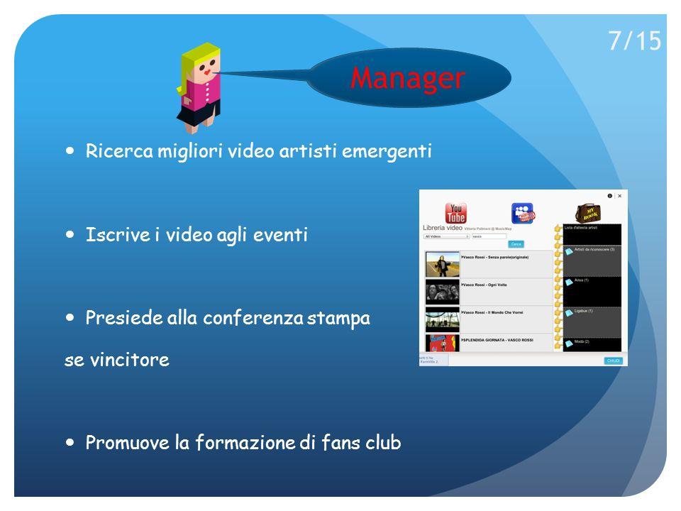 Ricerca migliori video artisti emergenti Iscrive i video agli eventi Presiede alla conferenza stampa se vincitore Promuove la formazione di fans club Manager 7/15