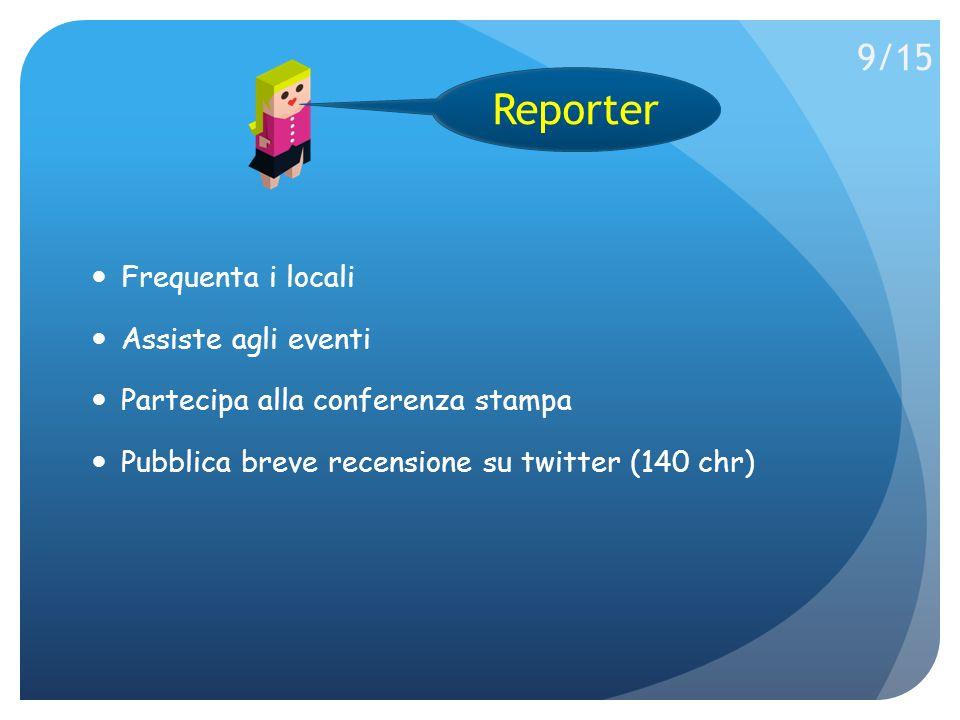 Frequenta i locali Assiste agli eventi Partecipa alla conferenza stampa Pubblica breve recensione su twitter (140 chr) Reporter 9/15