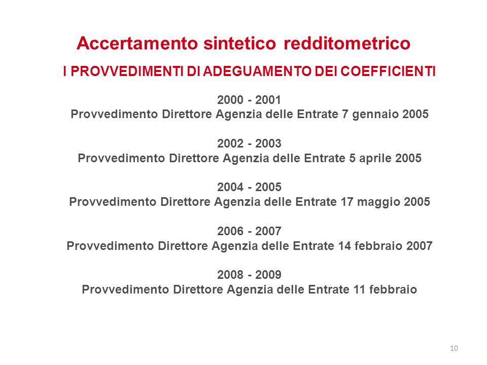 Accertamento sintetico redditometrico I PROVVEDIMENTI DI ADEGUAMENTO DEI COEFFICIENTI 2000 - 2001 Provvedimento Direttore Agenzia delle Entrate 7 genn