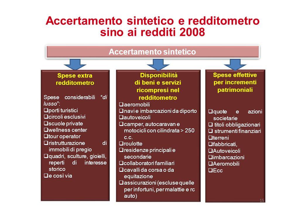 Accertamento sintetico e redditometro sino ai redditi 2008 Accertamento sintetico redditometro Spese extra redditometro Spese considerabili di lusso: