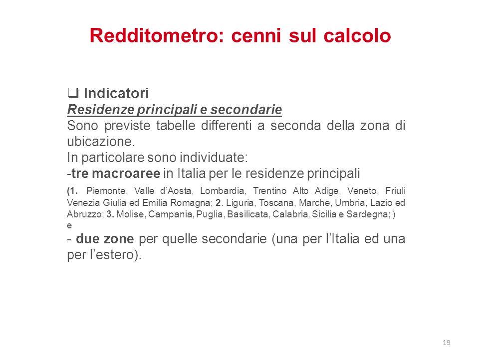 Redditometro: cenni sul calcolo Indicatori Residenze principali e secondarie Sono previste tabelle differenti a seconda della zona di ubicazione. In p