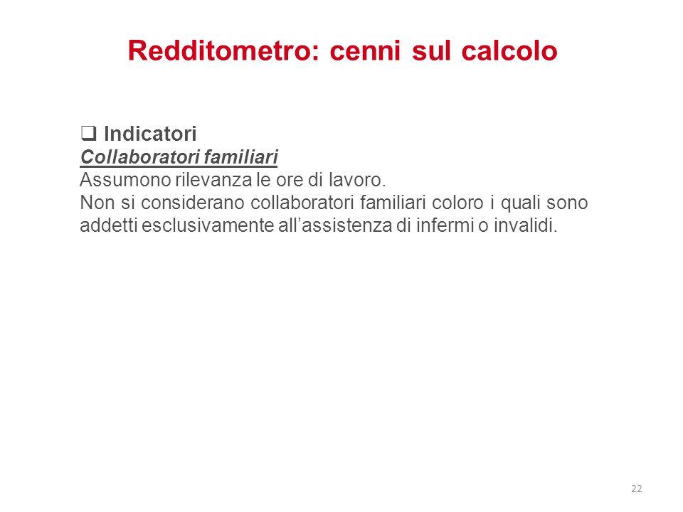 Redditometro: cenni sul calcolo Indicatori Collaboratori familiari Assumono rilevanza le ore di lavoro. Non si considerano collaboratori familiari col