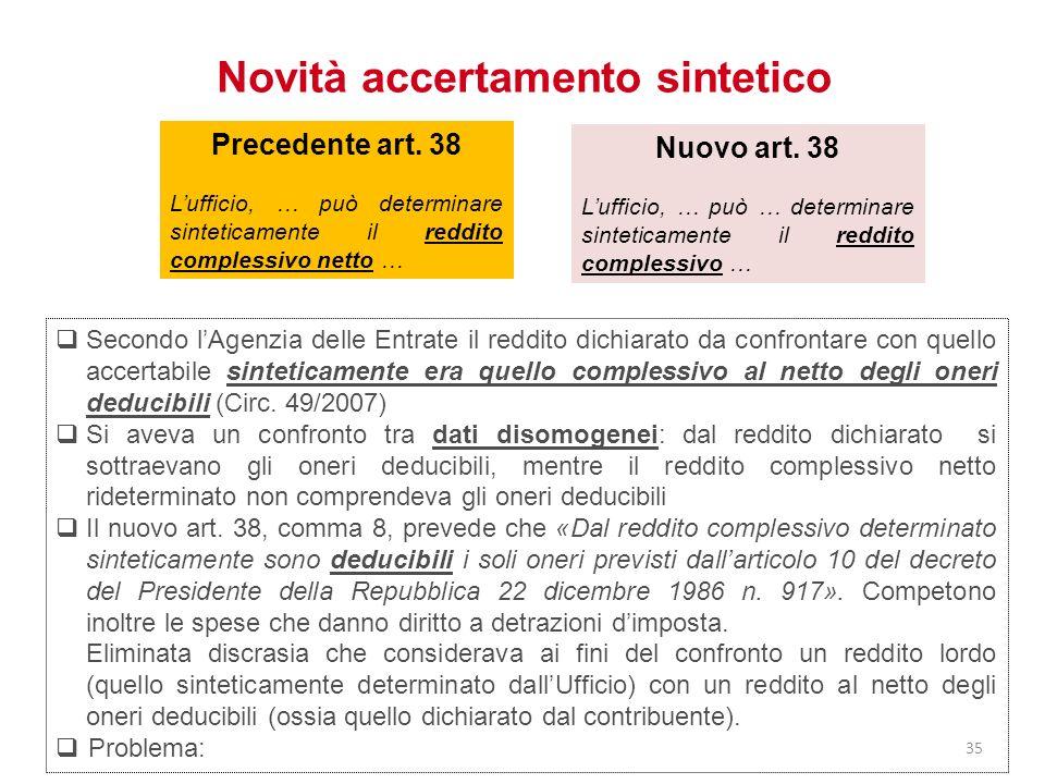 Novità accertamento sintetico Nuovo art. 38 Lufficio, … può … determinare sinteticamente il reddito complessivo … Precedente art. 38 Lufficio, … può d