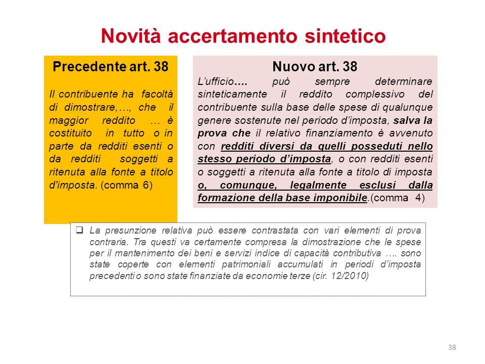 Novità accertamento sintetico Nuovo art. 38 Lufficio…. può sempre determinare sinteticamente il reddito complessivo del contribuente sulla base delle