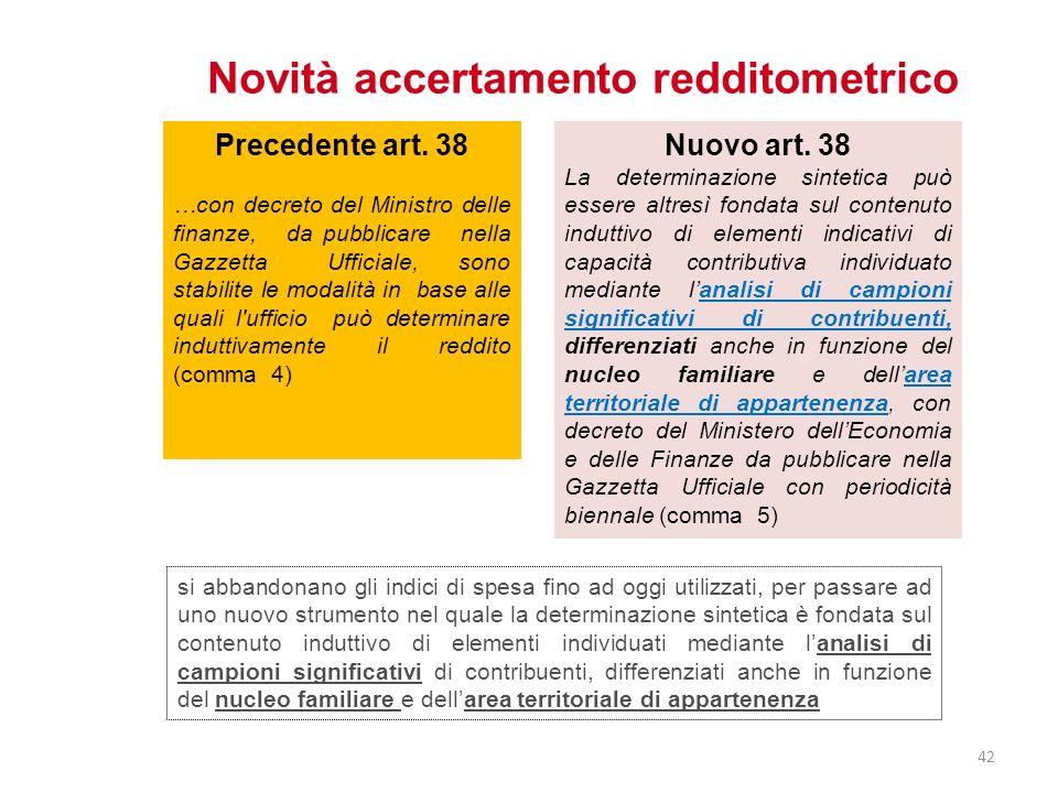 Novità accertamento redditometrico Nuovo art. 38 La determinazione sintetica può essere altresì fondata sul contenuto induttivo di elementi indicativi