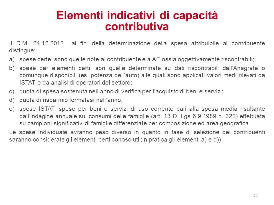 Elementi indicativi di capacità contributiva Il D.M. 24.12.2012 ai fini della determinazione della spesa attribuibile al contribuente distingue: a)spe