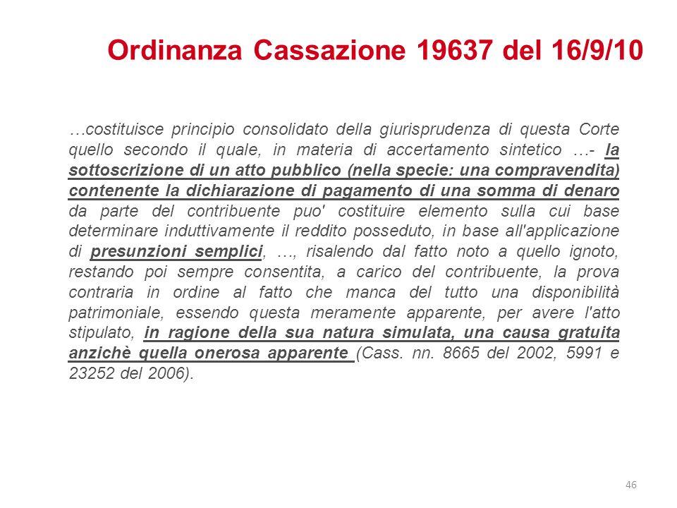 Ordinanza Cassazione 19637 del 16/9/10 …costituisce principio consolidato della giurisprudenza di questa Corte quello secondo il quale, in materia di
