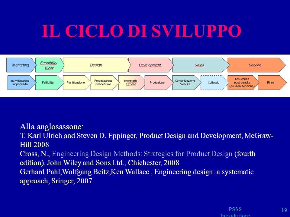 PSSS Introduzione 19 IL CICLO DI SVILUPPO Alla anglosassone: T. Karl Ulrich and Steven D. Eppinger, Product Design and Development, McGraw- Hill 2008