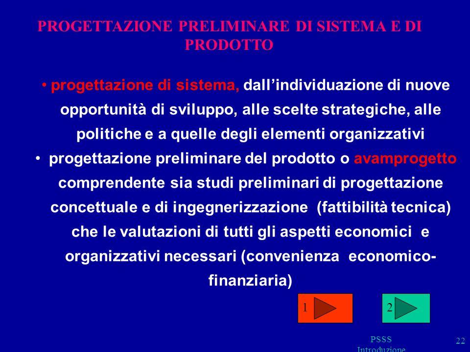 PSSS Introduzione 22 progettazione di sistema, dallindividuazione di nuove opportunità di sviluppo, alle scelte strategiche, alle politiche e a quelle