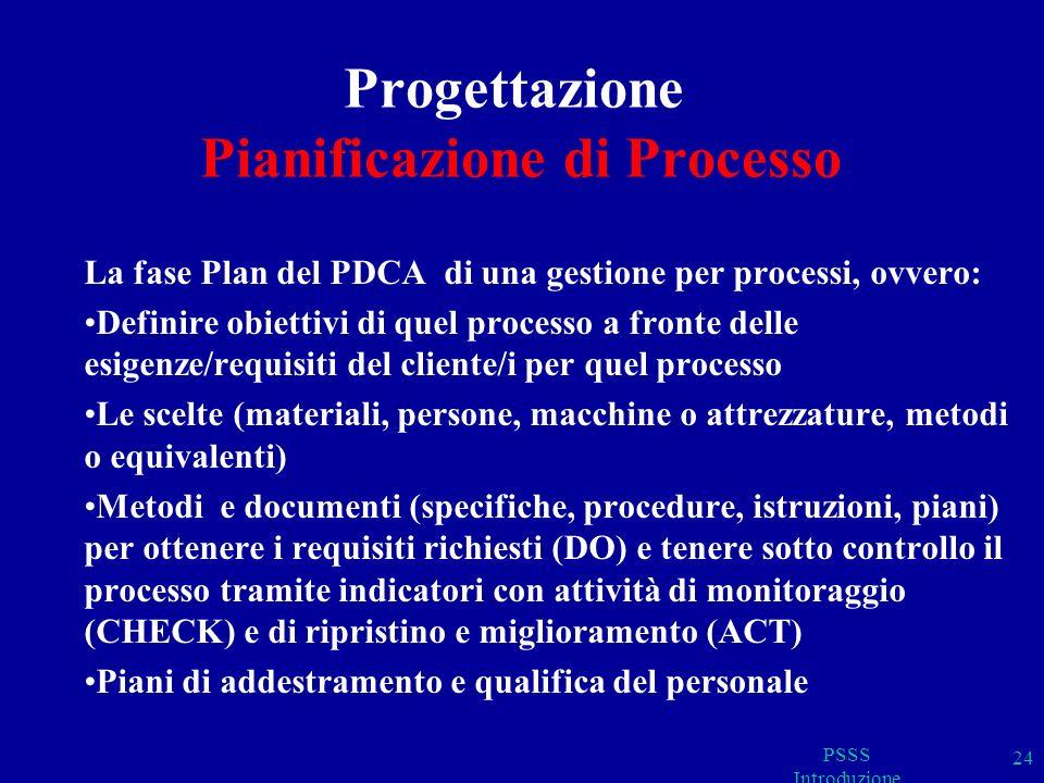 Progettazione Pianificazione di Processo La fase Plan del PDCA di una gestione per processi, ovvero: Definire obiettivi di quel processo a fronte delle esigenze/requisiti del cliente/i per quel processo Le scelte (materiali, persone, macchine o attrezzature, metodi o equivalenti) Metodi e documenti (specifiche, procedure, istruzioni, piani) per ottenere i requisiti richiesti (DO) e tenere sotto controllo il processo tramite indicatori con attività di monitoraggio (CHECK) e di ripristino e miglioramento (ACT) Piani di addestramento e qualifica del personale PSSS Introduzione 24