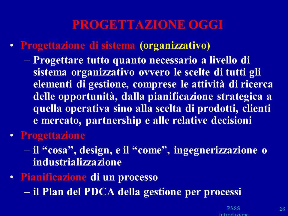 PSSS Introduzione 26 PROGETTAZIONE OGGI Progettazione di sistema (organizzativo) –Progettare tutto quanto necessario a livello di sistema organizzativo ovvero le scelte di tutti gli elementi di gestione, comprese le attività di ricerca delle opportunità, dalla pianificazione strategica a quella operativa sino alla scelta di prodotti, clienti e mercato, partnership e alle relative decisioni Progettazione –il cosa, design, e il come, ingegnerizzazione o industrializzazione Pianificazione di un processo –il Plan del PDCA della gestione per processi