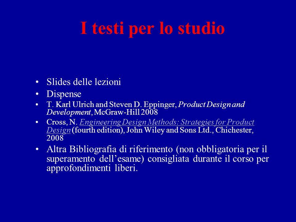 I testi per lo studio Slides delle lezioni Dispense T.