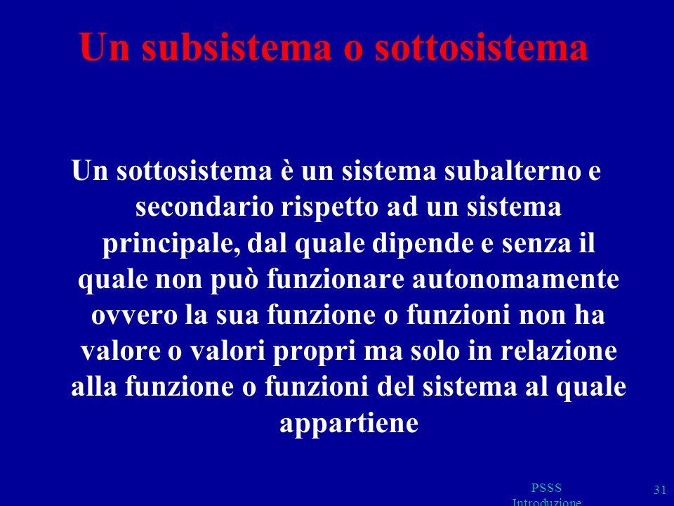 Un subsistema o sottosistema Un sottosistema è un sistema subalterno e secondario rispetto ad un sistema principale, dal quale dipende e senza il quale non può funzionare autonomamente ovvero la sua funzione o funzioni non ha valore o valori propri ma solo in relazione alla funzione o funzioni del sistema al quale appartiene PSSS Introduzione 31