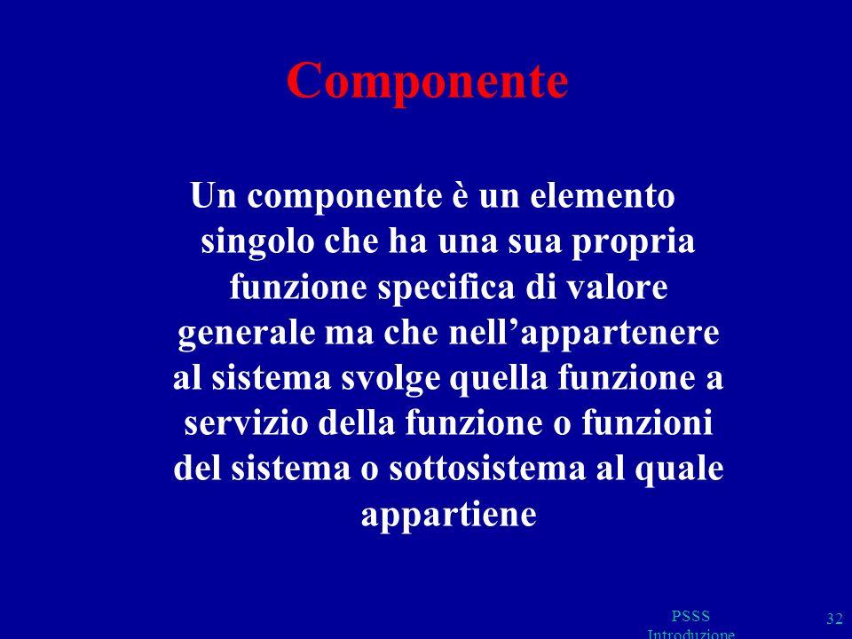 Componente Un componente è un elemento singolo che ha una sua propria funzione specifica di valore generale ma che nellappartenere al sistema svolge quella funzione a servizio della funzione o funzioni del sistema o sottosistema al quale appartiene PSSS Introduzione 32