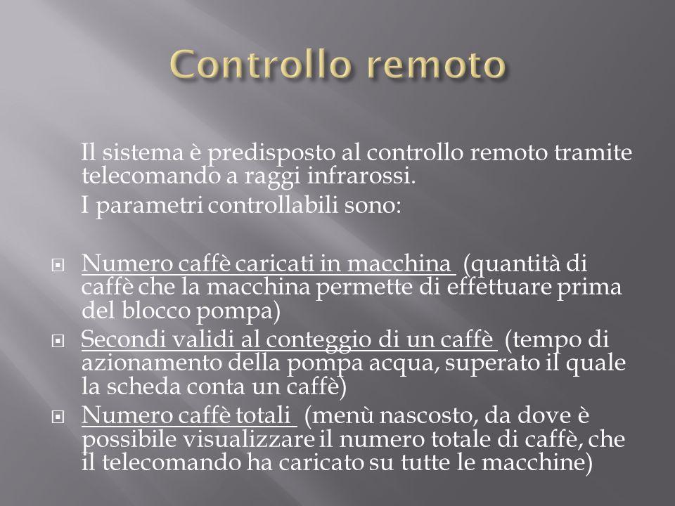 Il sistema è predisposto al controllo remoto tramite telecomando a raggi infrarossi. I parametri controllabili sono: Numero caffè caricati in macchina