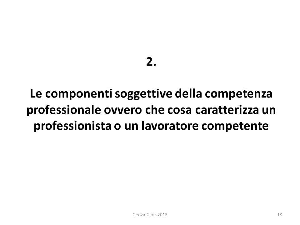 2. Le componenti soggettive della competenza professionale ovvero che cosa caratterizza un professionista o un lavoratore competente Geova Ciofs 20131