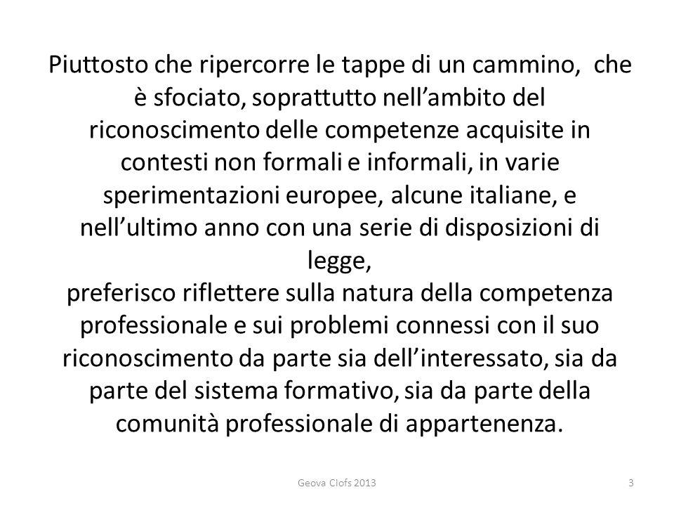 Definisco in maniera generica la competenza professionale come: la capacità di condurre una vita professionale valida ed efficace in un settore produttivo (di beni o di servizi) specifico.