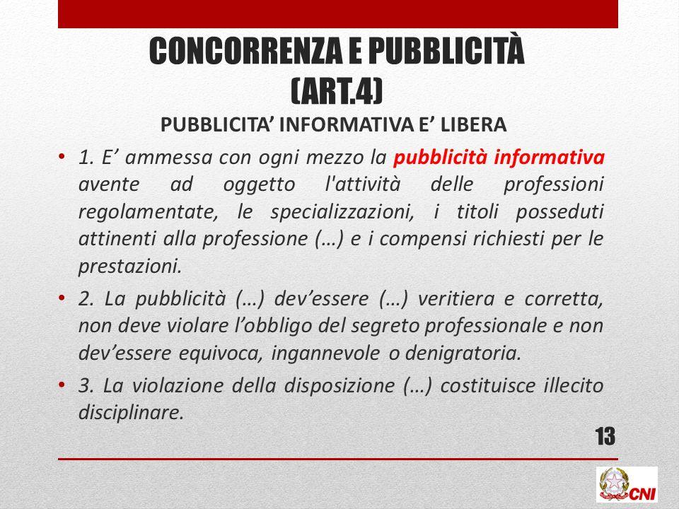 CONCORRENZA E PUBBLICITÀ (ART.4) PUBBLICITA INFORMATIVA E LIBERA 1.