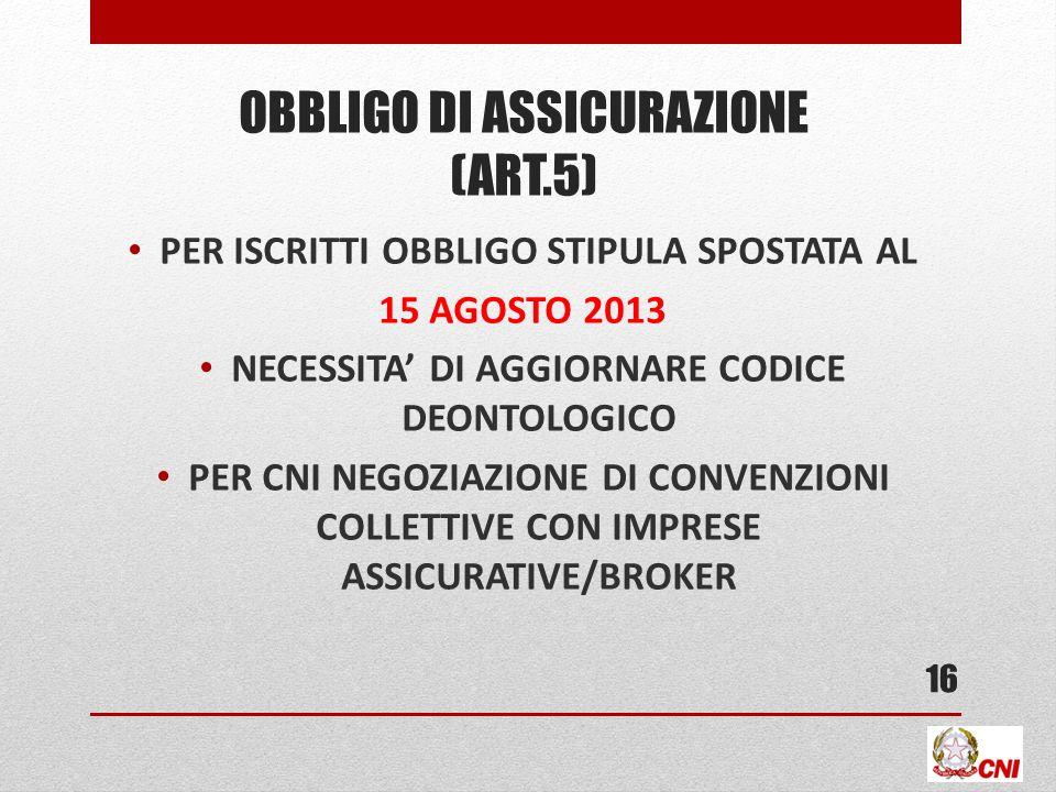 OBBLIGO DI ASSICURAZIONE (ART.5) PER ISCRITTI OBBLIGO STIPULA SPOSTATA AL 15 AGOSTO 2013 NECESSITA DI AGGIORNARE CODICE DEONTOLOGICO PER CNI NEGOZIAZIONE DI CONVENZIONI COLLETTIVE CON IMPRESE ASSICURATIVE/BROKER 16