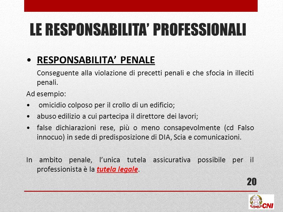 LE RESPONSABILITA PROFESSIONALI RESPONSABILITA PENALE Conseguente alla violazione di precetti penali e che sfocia in illeciti penali.