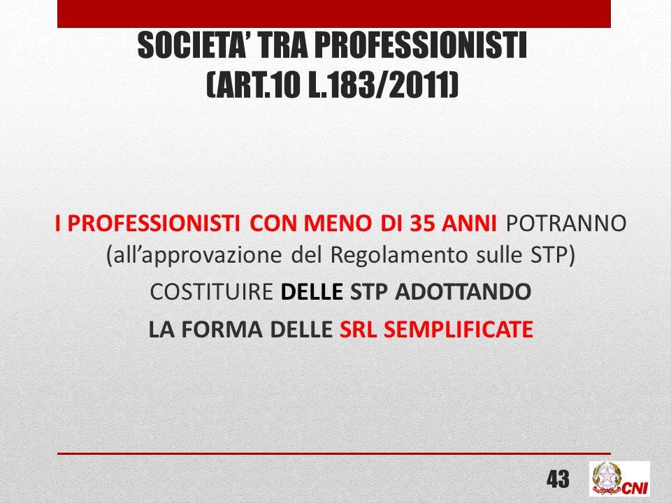 SOCIETA TRA PROFESSIONISTI (ART.10 L.183/2011) I PROFESSIONISTI CON MENO DI 35 ANNI POTRANNO (allapprovazione del Regolamento sulle STP) COSTITUIRE DELLE STP ADOTTANDO LA FORMA DELLE SRL SEMPLIFICATE 43