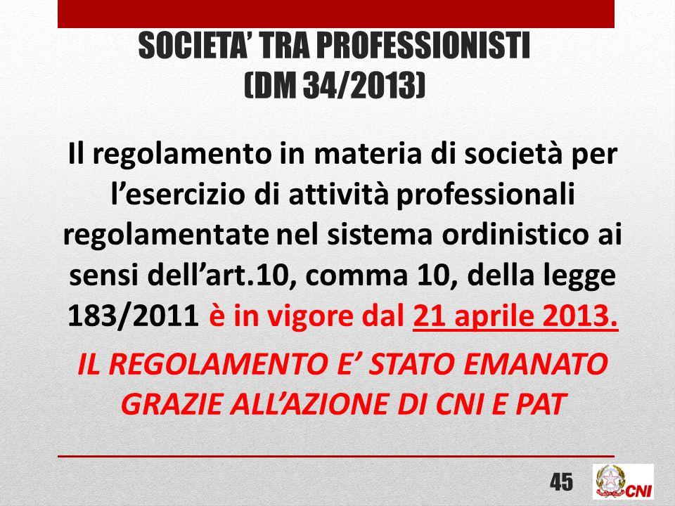 SOCIETA TRA PROFESSIONISTI (DM 34/2013) Il regolamento in materia di società per lesercizio di attività professionali regolamentate nel sistema ordinistico ai sensi dellart.10, comma 10, della legge 183/2011 è in vigore dal 21 aprile 2013.