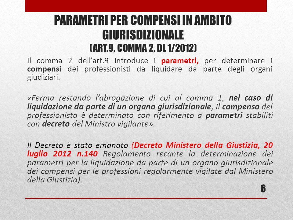 Il comma 2 dellart.9 introduce i parametri, per determinare i compensi dei professionisti da liquidare da parte degli organi giudiziari.