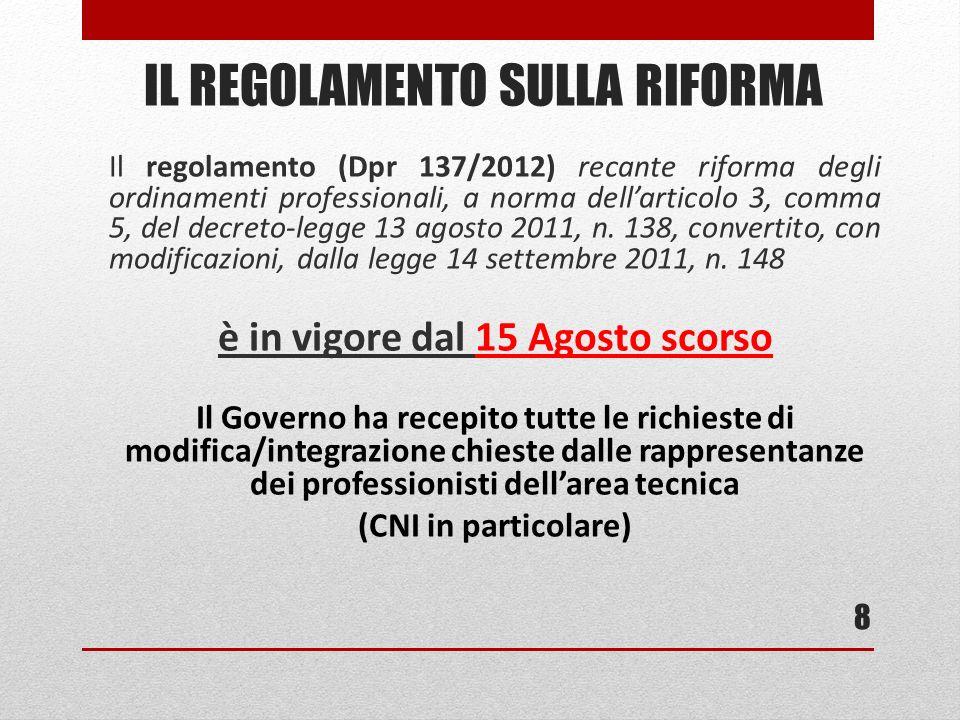 Il regolamento (Dpr 137/2012) recante riforma degli ordinamenti professionali, a norma dellarticolo 3, comma 5, del decreto-legge 13 agosto 2011, n.